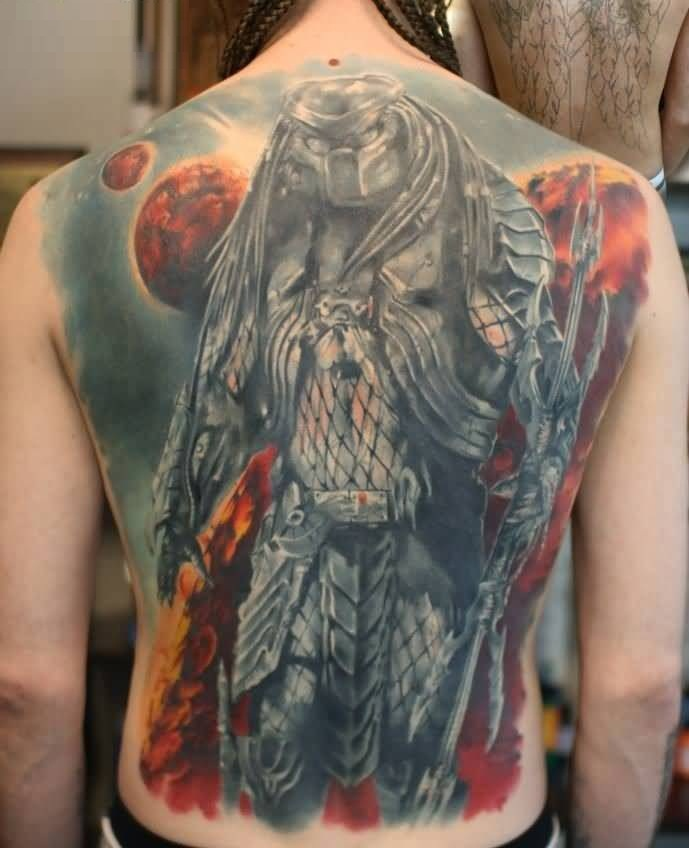 lovely red and gray color ink Predator Tattoo full back of boy