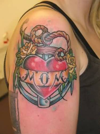 maori red green and black color ink anchor tattoo on girl shoulder for girls with love tattoo