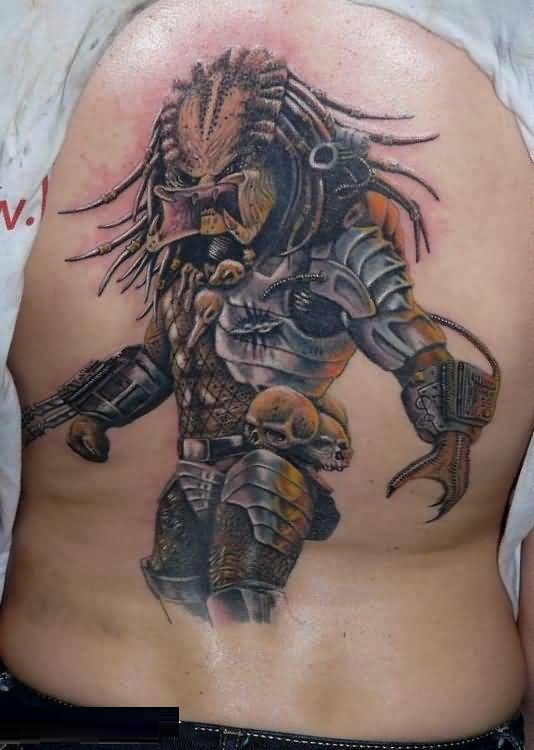 maori yellow and gray color ink Predator And Skull Tattoo With Scary Mouth on boy full back