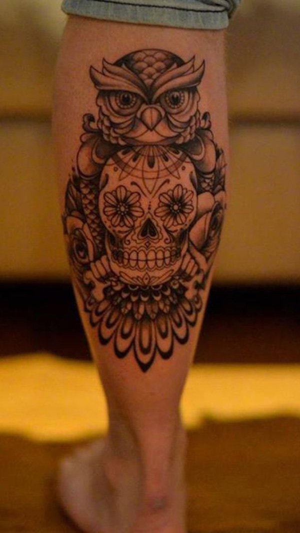 Most Amazing Owl Calf Tattoo With Black Ink For Man Woman