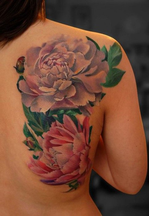 most amazing Peony tattoo on back With colourful ink For Man And Woman