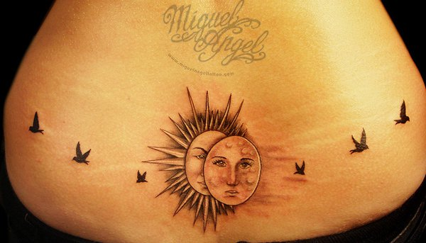 Most Amazing Sun And Moon With Birds Flying Away Custom Design Tattoo With Black Ink For Man Woman