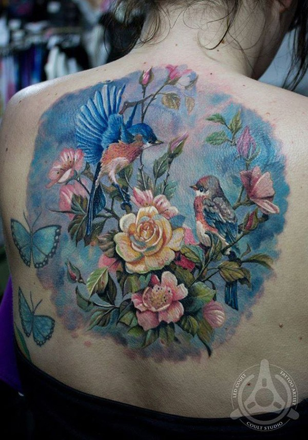 Most Amazing Colorful Flowers And Birds Tattoo With Colorful Ink For Man Woman
