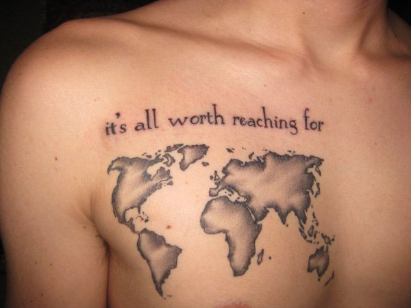 Most Amazing World Map Tatto For Man Woman With Black Ink