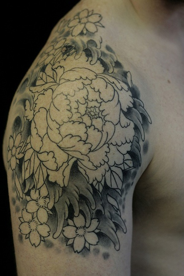most attractive Peony tattoo on shoulder With black ink For Man And Woman