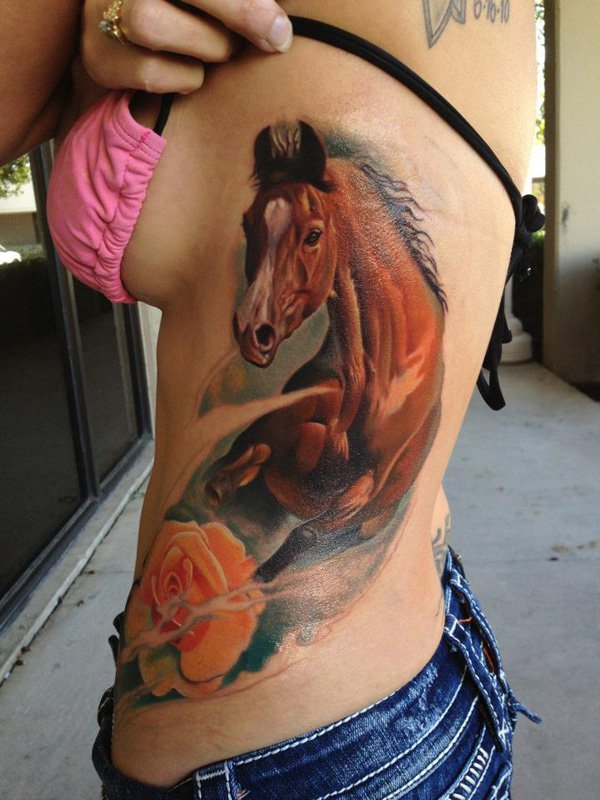 Most Beautiful Horse Tattoo On Side With Colourful Ink For Women And Man