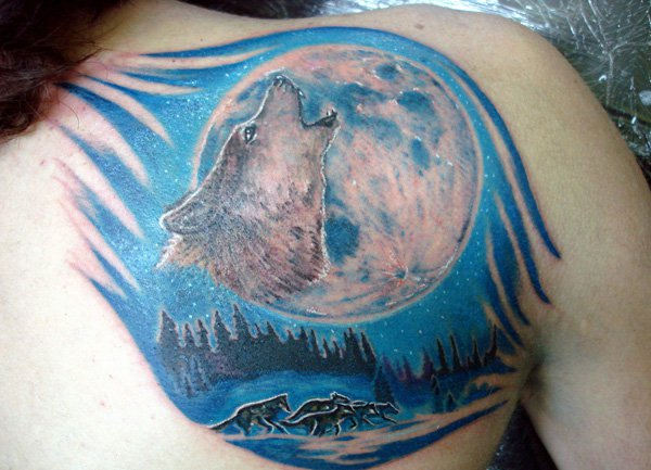 Most Beautiful Tatuagem Lobo Gabriel On Back With Colorful Ink For Man Woman