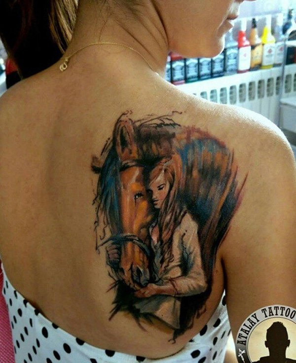 Most Beautiful Horse And Girl Tattoo On Back With Colourful Ink For Women And Man