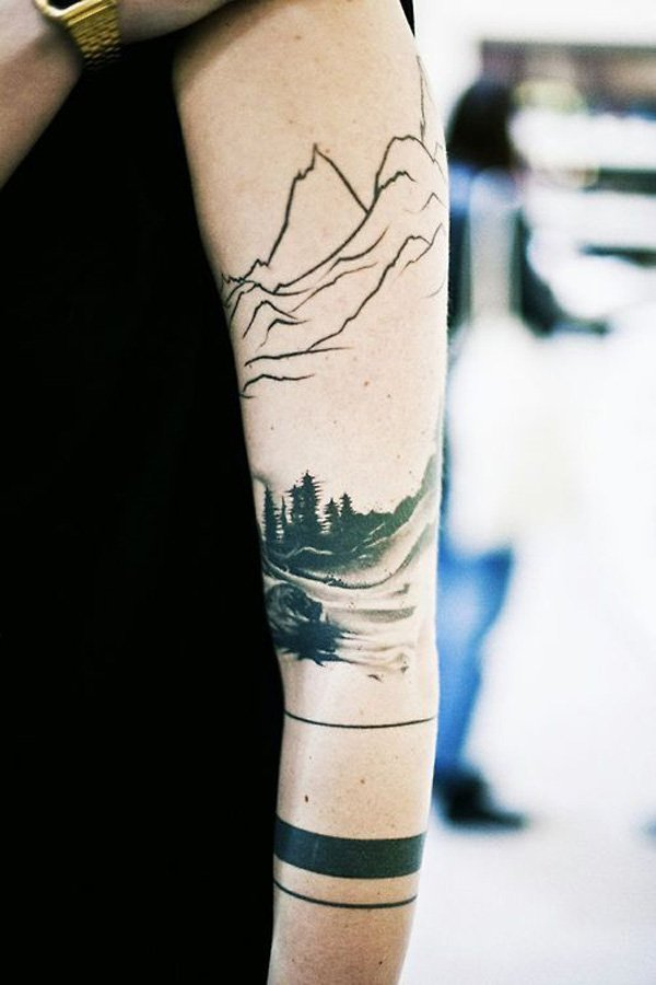most cute forest and mountain sleeve tattoo for women on hand With Black ink For Man And Woman