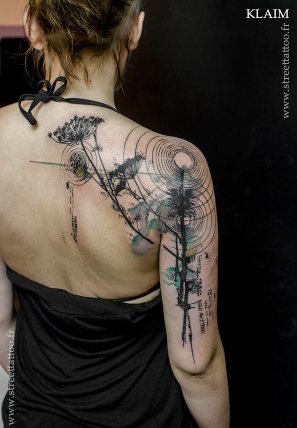 most dashing Dandelion Tattoos on back With Black ink For Man And Woman