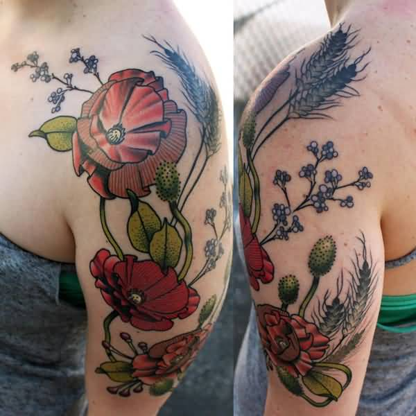 most dashing Poppies tattoo on shoulder With colourful ink For Man And Woman
