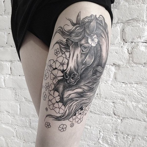 Most Dashing Horse Thigh Tattoo On Thigh With Black Ink For Women And Man