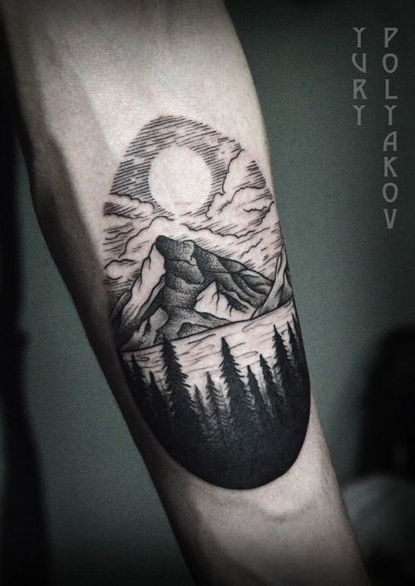 most dashing mountain tattoo on hand With Black ink For Man And Woman