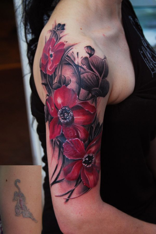 most elegant Poppies tattoo on arm With colourful ink For Man And Woman