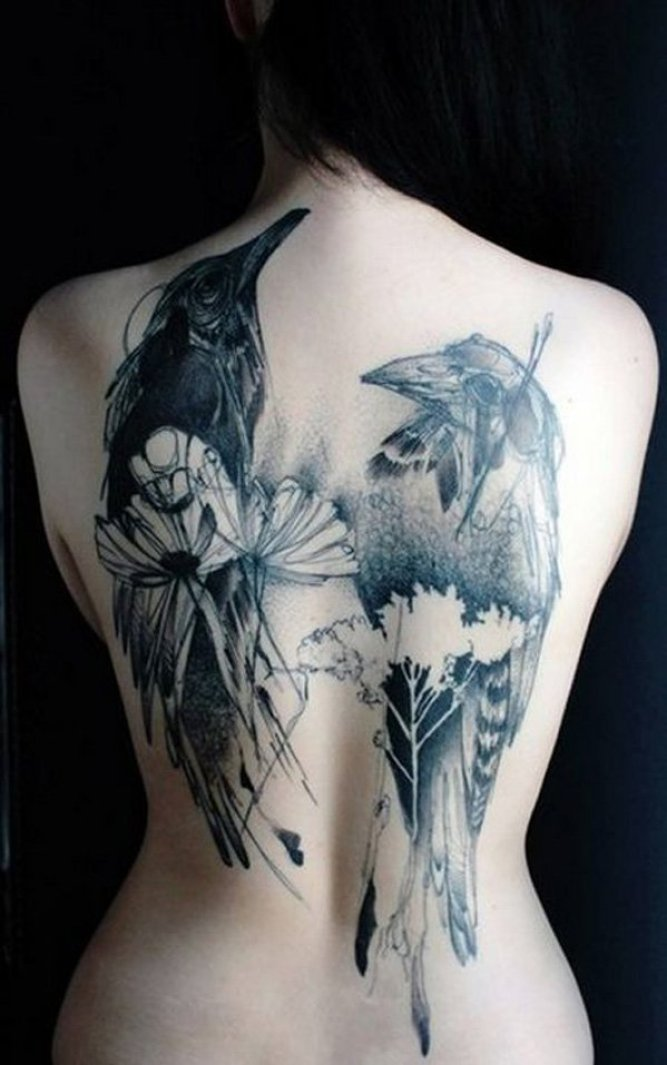 most faboulous Watercolor Raven Tattoo on Back with Black ink For Man And Woman