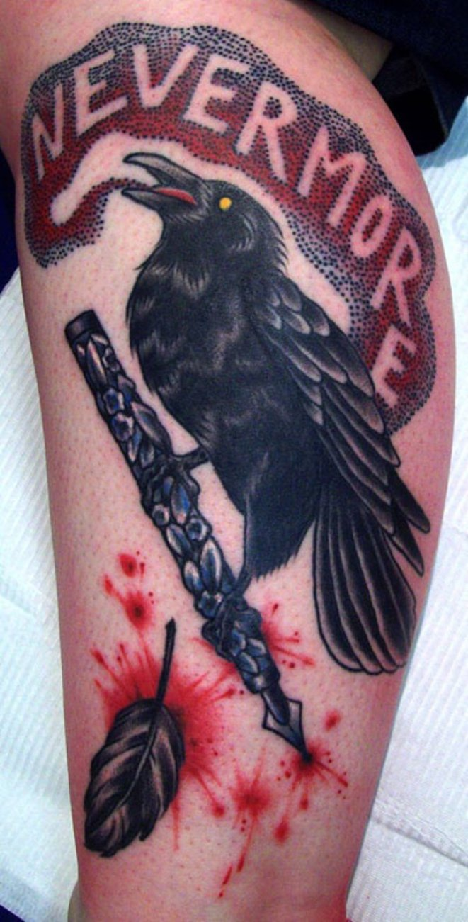 most fabulous Raevn leg tattoo on leg with Black ink For Man And Woman