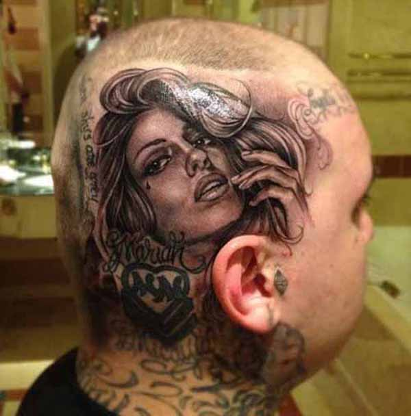 most grat tattoo on the head With Black ink For Man And Woman