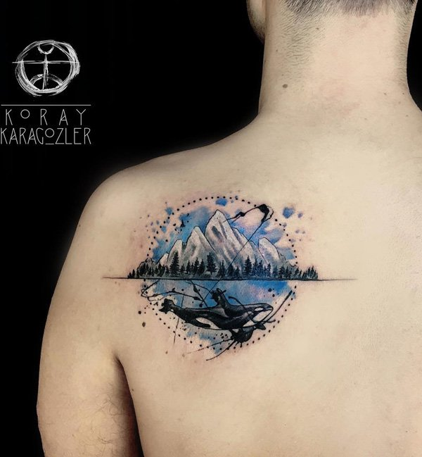 most great mountain tattoo on back With colourful ink For Man And Woman
