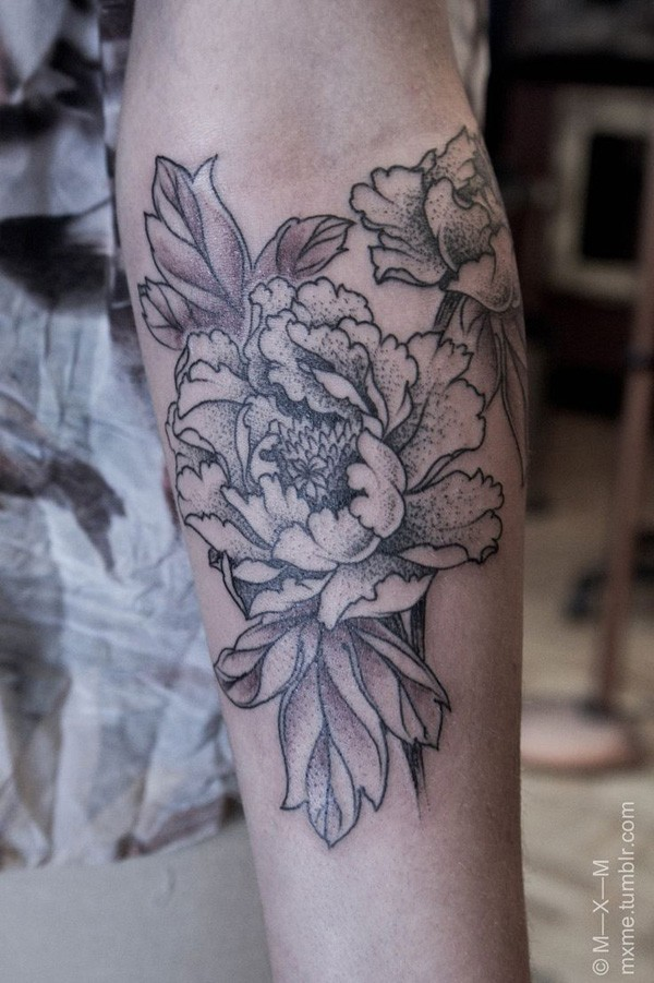 most incredible Peony tattoo on wrist With Black ink For Man And Woman