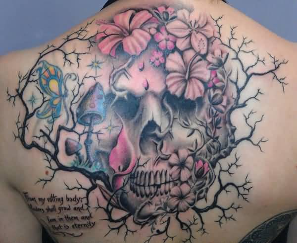 most lovely Hibiscus tattoo on back With colourful ink For Man And Woman