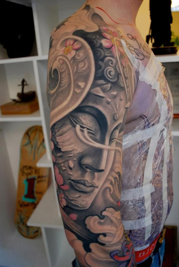 Most Trending Buddha Japanese Tattoo With Black Ink For Woman Man