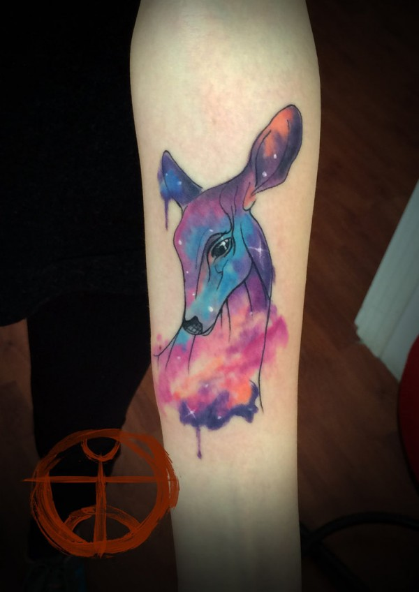 Most Trending Colorful Deer Tattoo With Colorful Ink For Man Woman