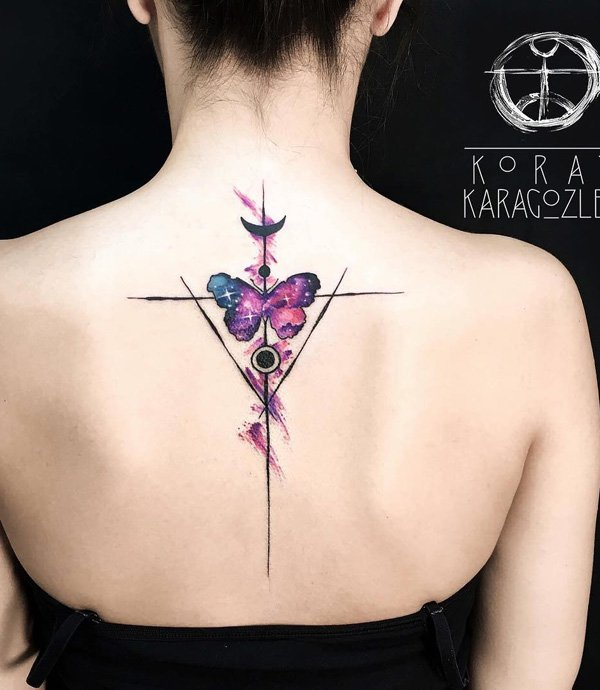 Most Trending Watercolor Butterfly Spine Tattoo With Colourful Ink For Woman