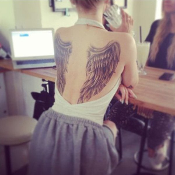 Most Trending Wing Back Tattoo On Back With Black Ink For Man Woman