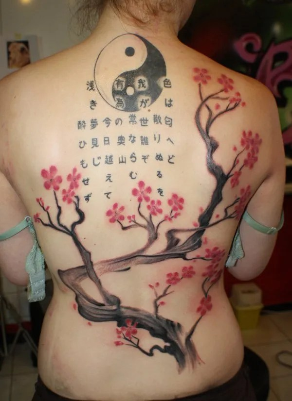 Most Trending Cherry Tree And Yin Yang Back Tattoo By Simply Tattoo With Black Ink Tattoo For Man Woman