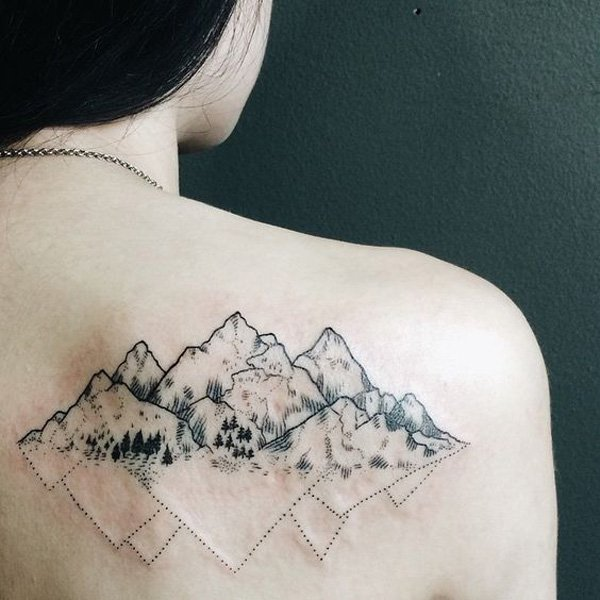 most trending mountain tattoo on back With Black ink For Man And Woman