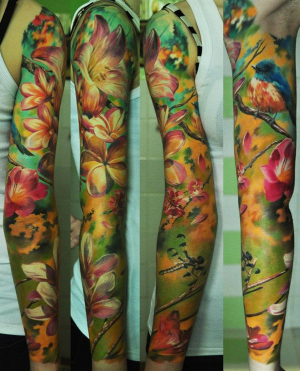Most Wonderful Colorful Full Sleeve Tattoo With Colorful Ink For Man Woman