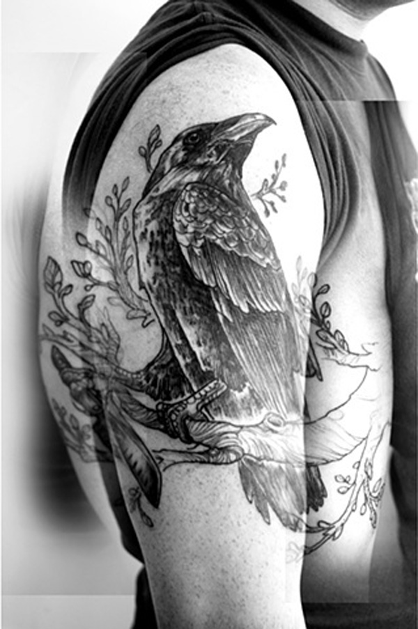 most wonderful Raven on the Tree Tattoo half sleeve with Black ink For Man And Woman