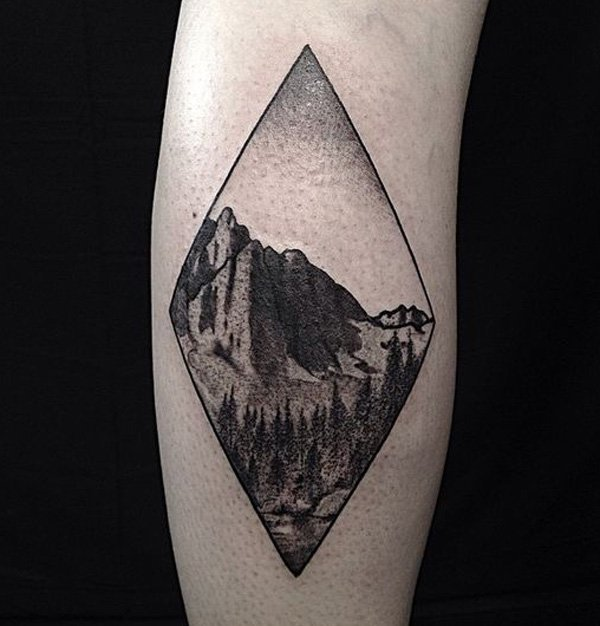 most wonderful mountain tattoo on hand With Black ink For Man And Woman