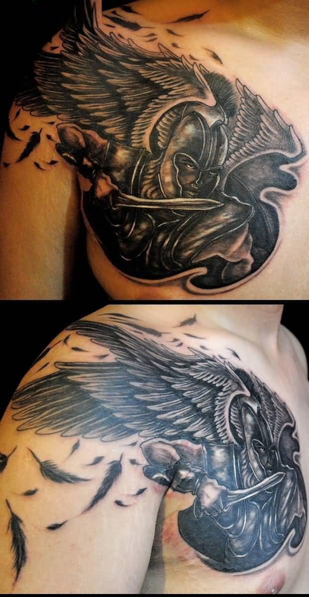 motivational black color ink angel warrior tattoo on boy's shoulder for boys only made by expert artist
