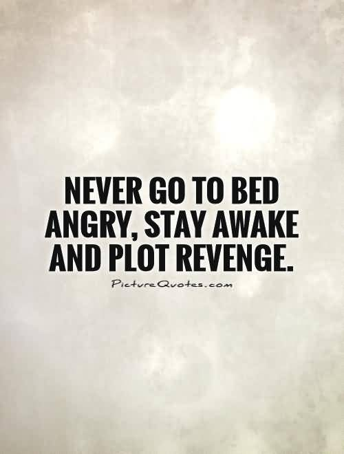 Never Go To Bed Angry Stay Awake And Plot Revenge