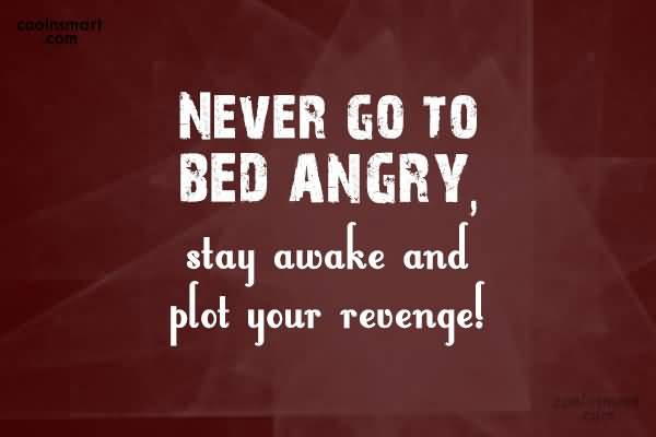 Never Go To Bed Angry Stay Awake And Plot Your Revenge