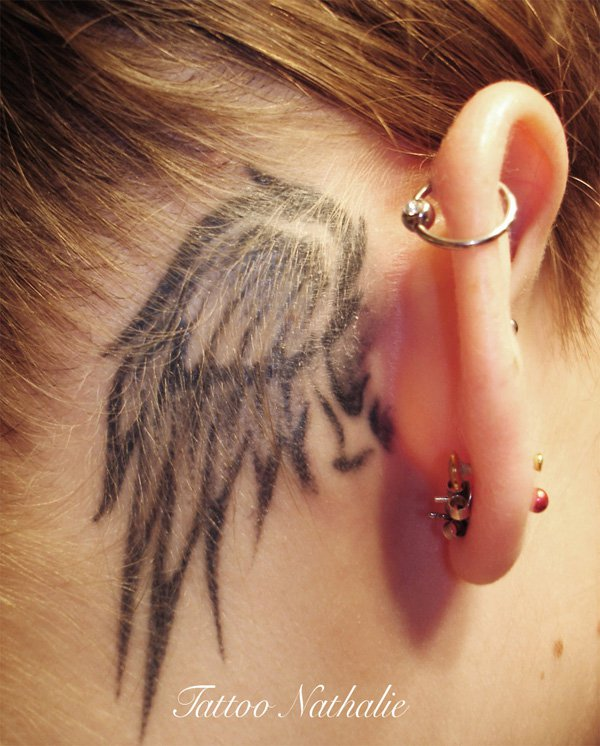 New Wing Behind The Ear Tattoo With Black Ink For Man Woman