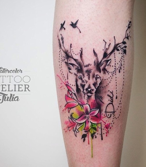 Nice Flower And Deer Calf Tattoo With Colourful Ink For Man Woman