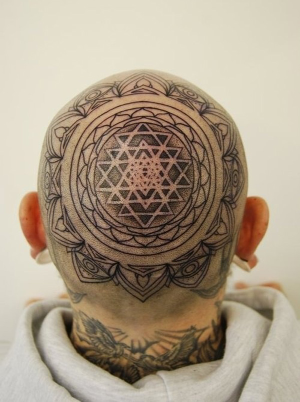 nice Head tattoo Mandala on head With Black ink For Man And Woman