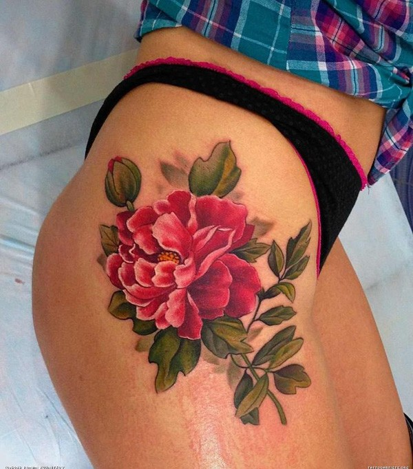 nice Peony tattoo on thigh With colourful ink For Man And Woman