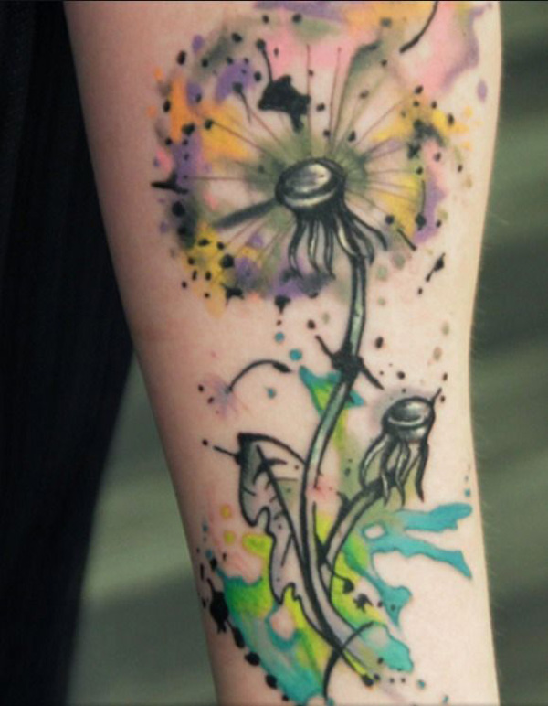 nice Watercolor Dandelion on wrist With colourful ink For Man And Woman