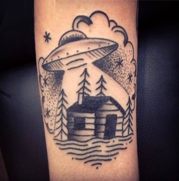 nice black color ink Ufo And House Tattoo on arm for boys