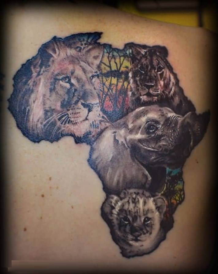 Nice Color Ink African Animal Tattoo On Boy Back