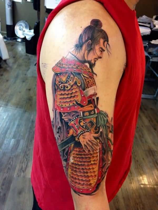 Nice Warrior Tattoo On Shoulder With Colourful Ink For Women And Man