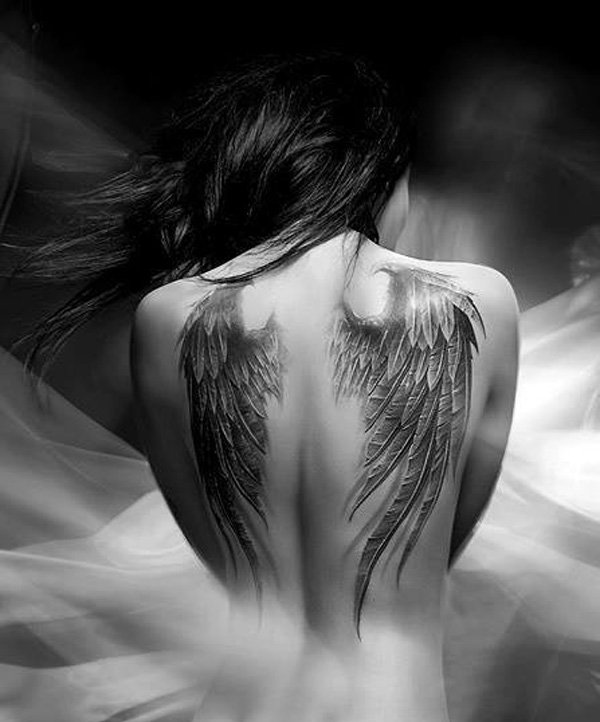 Outstanding Angel Wing Tattoo On Back With Black Ink For Man Woman
