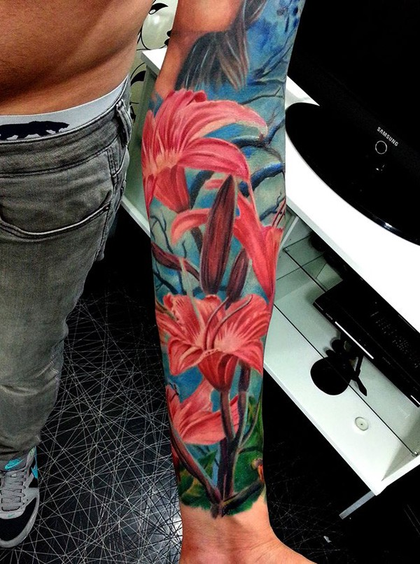 Outstanding Colorful Lily Tattoo On Wrist With Colorful Ink For Man Woman