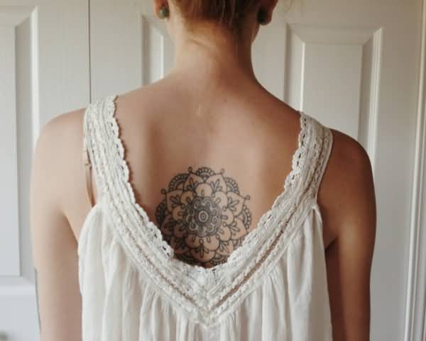 Outstanding Mandala Tattoo With Black Ink On Back For Man Woman