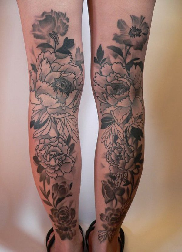 Outstanding Peony Calf Tattoo With Black Ink For Man Woman