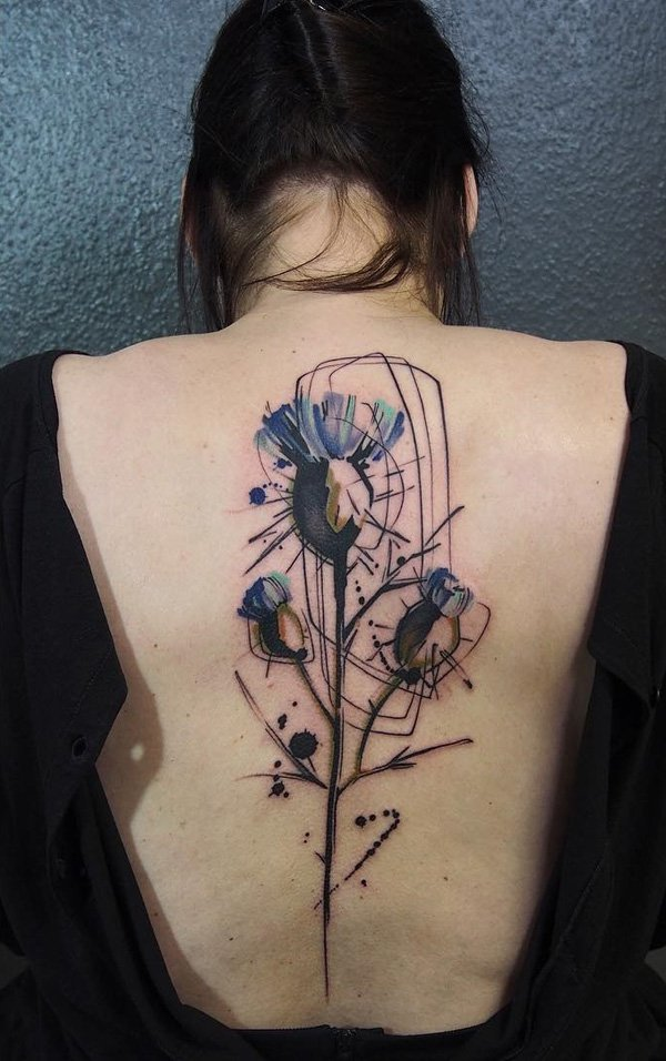 Outstanding Watercolor Flower Spine Tattoo With Colourful Ink For Woman