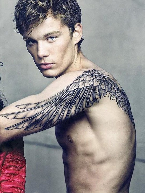 Outstanding Wing Tattoo With Black Ink For Man Woman